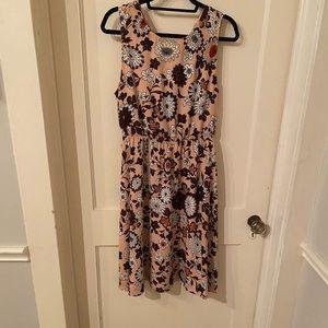 Loft pink floral patterned dress, size M